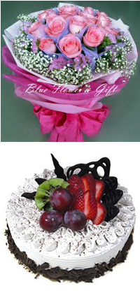 20 ROSE HAND BOUQUET & 1/2 KG CAKE(FF 001)